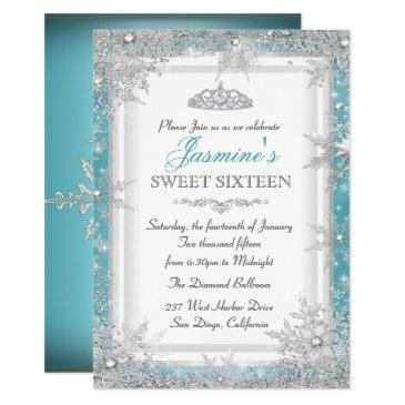 blue silver winter wonderland sweet 16 invitations