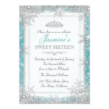 Small Blue Silver Winter Wonderland Sweet 16 Invitation Front View