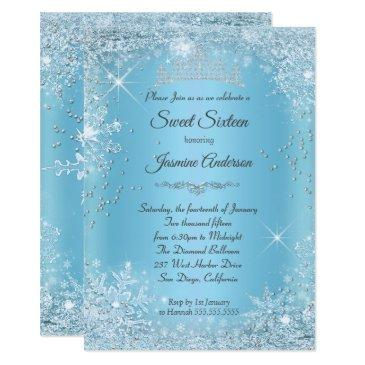 blue silver winter wonderland sweet 16 tiara invitation