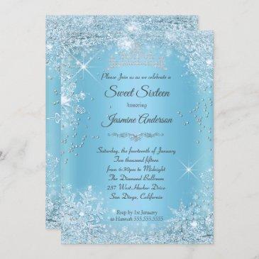 blue silver winter wonderland sweet 16 tiara invitation