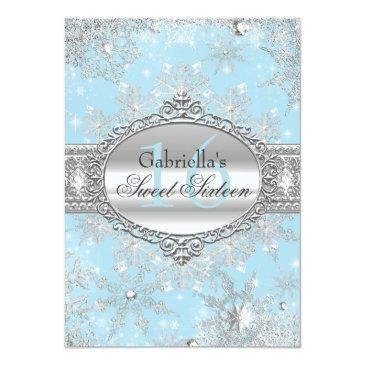 Small Blue Snowflake Winter Wonderland Sweet 16 Invite Front View