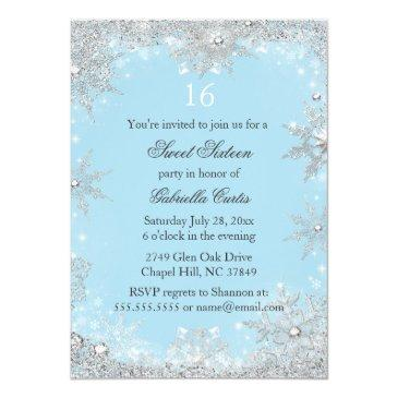 Small Blue Snowflake Winter Wonderland Sweet 16 Invite Back View