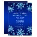 blue snowflakes winter wonderland sweet 16 invitation