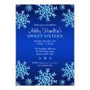 blue snowflakes winter wonderland sweet 16 invitations