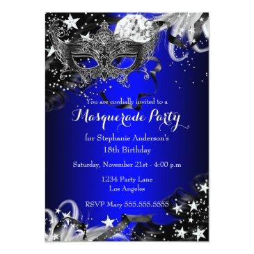 Small Blue Sparkle Magical Night Masquerade Party Invite Front View