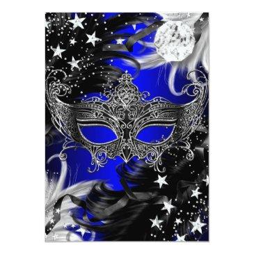Small Blue Sparkle Magical Night Masquerade Party Invite Back View
