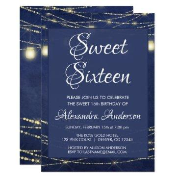 blue string light mason jar sweet 16 birthday invitation