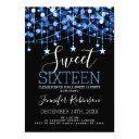 blue sweet 16 birthday sparkly string lights invitation