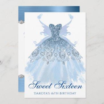 blue sweet 16 glitzy sparkle glam gown pixie wings invitation