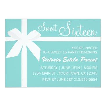 Small Blue Sweet 16 Invitation Front View