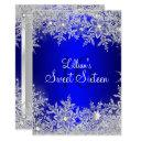 blue sweet 16 snowflake winter wonderland invitation