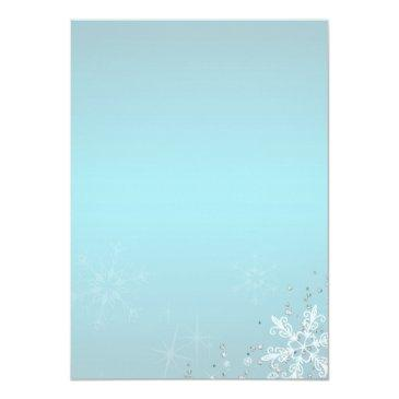 Small Blue Sweet Sixteen Winter Wonderland Snowflakes Invitations Back View