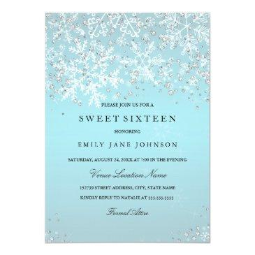 Small Blue Sweet Sixteen Winter Wonderland Snowflakes Front View