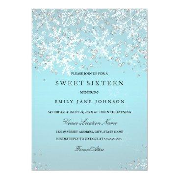 blue sweet sixteen winter wonderland snowflakes invitation