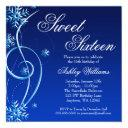 blue swirl winter wonderland sweet 16 invitation