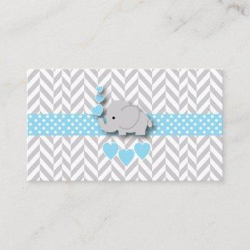 blue white gray elephant baby shower book request enclosure invitations