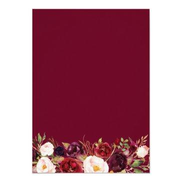 Small Blush Burgundy Floral Gold Frame Sweet Sixteen 16 Invitation Back View