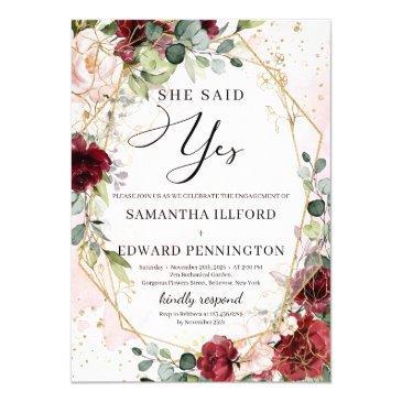 blush burgundy floral gold she said yes engagement invitation