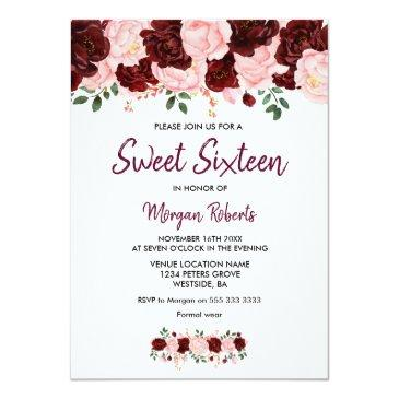 Small Blush Burgundy Rose Sweet 16 Script Invite Front View