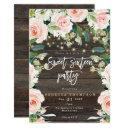 blush floral greenery lights modern sweet 16 invitation