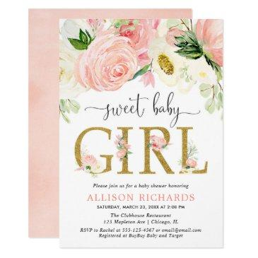 blush pink gold floral girl baby shower invitation