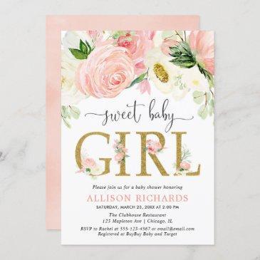 blush pink gold floral girl baby shower invitation