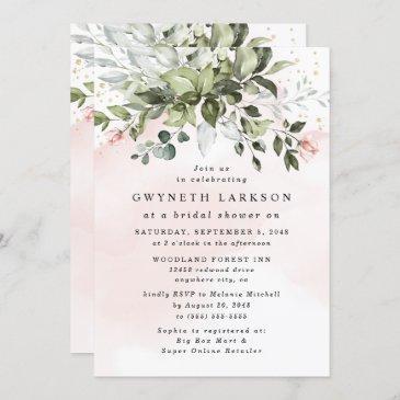 blush pink gold greenery dusty blue bridal shower invitation