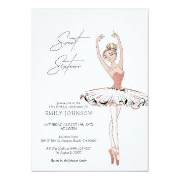 Small Blush Pink Rose Gold Ballerina Sweet 16 Birthday Invitation Front View
