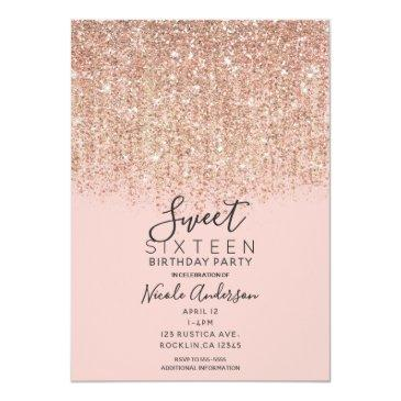 Small Blush Pink & Rose Gold Glitter Sweet 16 Party Invitation Front View
