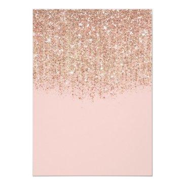 Small Blush Pink & Rose Gold Glitter Sweet 16 Party Invitation Back View