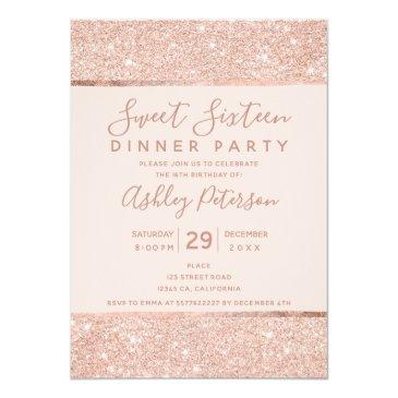 Small Blush Rose Gold Glitter Typography Sweet Sixteen Invitation Front View