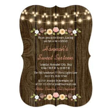 Small Blush String Of Lights Rustic Sweet 16 Invitations Front View