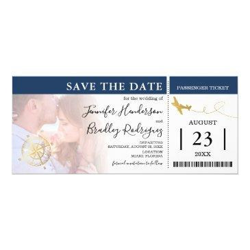 boarding pass tickets | navy save the date photo invitation