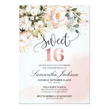 Small Boho Blush Pink Floral Rose Gold Sweet Sixteen Invitation Front View