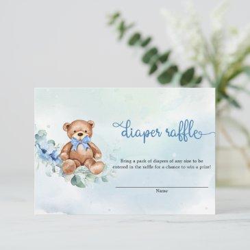 boho dusty blue floral teddy bear diaper raffle enclosure invitations
