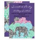 boho elephant pastel floral purple sweet 16 invitation