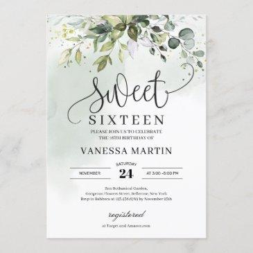 boho greenery foliage eucalyptus sweet sixteen invitation