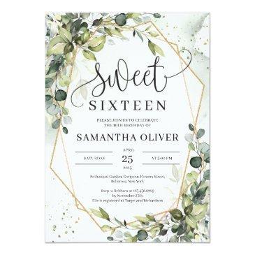 Small Boho Greenery Leaves Gold Geometric Sweet Sixteen Invitation Front View