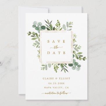 botanical gold greenery wedding save the date invitations