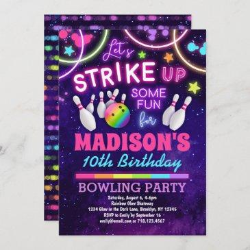 bowling birthday party invitation for girls