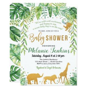 boy baby shower invitation, jungle baby shower invitation