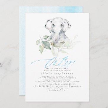 boy's elephant watercolor greenery baby shower invitation