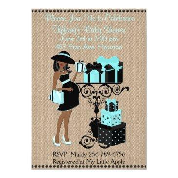 breakfast theme blue aqua black baby shower invite