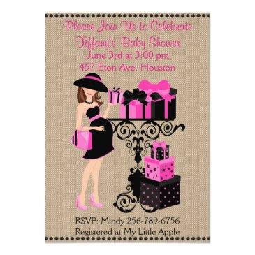 breakfast theme hot pink black baby shower invite