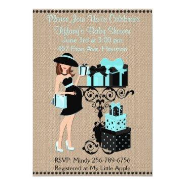 breakfast themed blue aqua baby shower invite