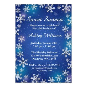 Small Bright Snowflakes Blue Winter Wonderland Sweet 16 Invitations Front View