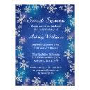 bright snowflakes blue winter wonderland sweet 16 invitations