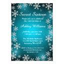 bright snowflakes teal winter wonderland sweet 16 invitation