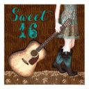 brown and teal blue cowgirl sweet sixteen party invitations
