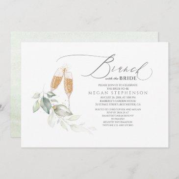 brunch with the bride gold greenery bridal shower invitation